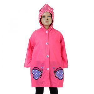 Дождевик детский «Розовые бабочки» на кнопках с капюшоном, М, рост 100-110 см