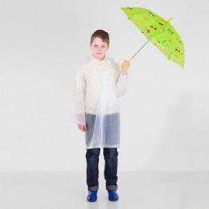 Зонт детский полуавтоматический «Забавные смайлы», r=37см, цвет салатовый
