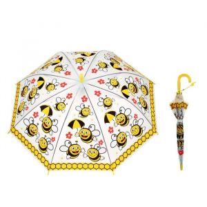 Зонт детский полуавтоматический «Пчёлки», со свистком, r=38,5см, цвет жёлтый