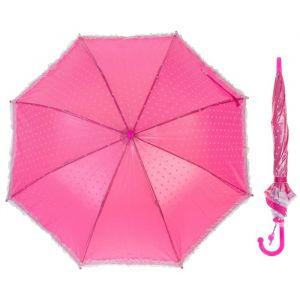 Зонт-трость «Горошек с рюшами», полуавтоматический, со свистком, R=38см, цвет малиновый