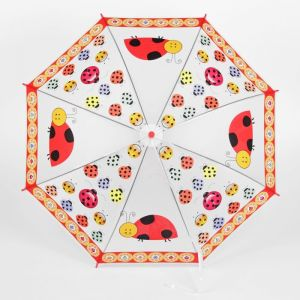 Зонт детский «Божьи коровки», полуавтоматический, со свистком, r=40см, цвет красный