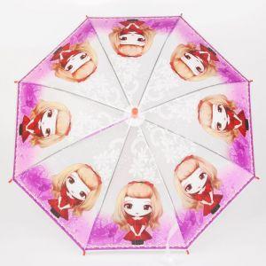 Зонт детский полуавтоматический «Модная принцесса», r=40см, со свистком, цвет красный/сиреневый