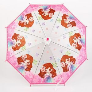 Зонт детский полуавтоматический «Принцесса с цветком», r=40см, со свистком, цвет розовый