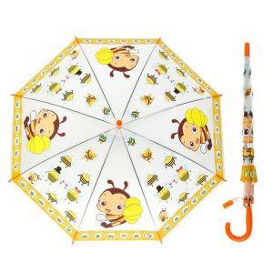 Зонт детский полуавтоматический «Пчёлки» r=40 со свистком, оранжевый/жёлтый
