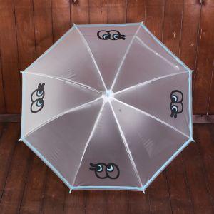 Зонт детский «Глазастик», полуавтоматический, r=45см, цвет голубой
