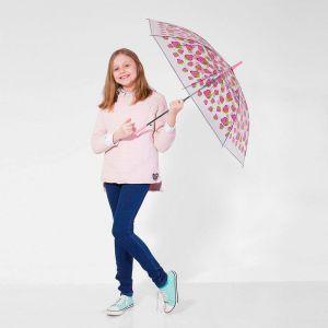 Зонт детский полуавтоматический «Клубнички», r=45см, цвет прозрачный/розовый