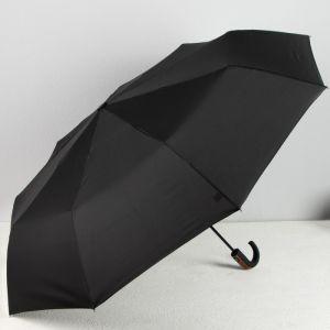 Зонт автоматический «Однотонный», 3 сложения, 9 спиц, R = 61 см, цвет чёрный