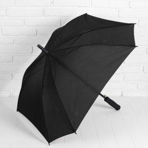 Зонт полуавтоматический «Однотонный», прорезиненная ручка, 8 спиц, R = 52 см, цвет чёрный