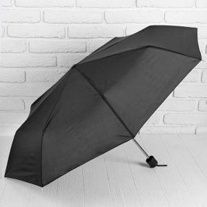 Зонт механический «Однотонный», 3 сложения, 8 спиц, R = 48 см, цвет чёрный