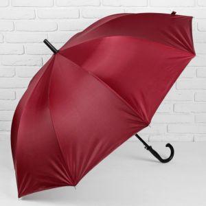 Зонт - трость полуавтоматический, 10 спиц, R = 61 см, цвет бордовый