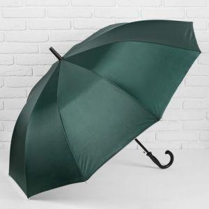 Зонт - трость полуавтоматический, 10 спиц, R = 61 см, цвет зелёный