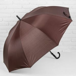 Зонт - трость полуавтоматический, 10 спиц, R = 61 см, цвет коричневый
