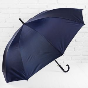Зонт - трость полуавтоматический, 10 спиц, R = 61 см, цвет синий