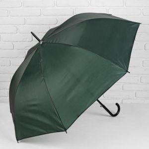 Зонт - трость полуавтоматический «Классика», 8 спиц, R = 58 см, цвет зелёный, УЦЕНКА
