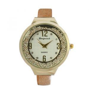 """Часы наручные женские """"Shengmeimk"""", ремешок из экокожи, бежевые, микс   4407016"""