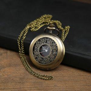 """Часы карманные """"Бонжур"""", кварцевые, на цепочке, чёрный циферблат, бронзовые, d=4.5 см   3572451"""