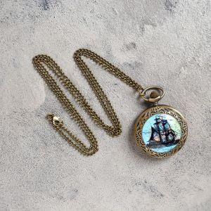 """Часы карманные """"Корабль"""", кварцевые, на цепочке 80 см, d=4.5 см 906445"""