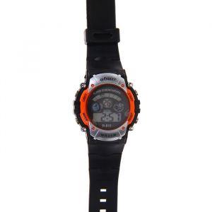 Часы наручные мужские электронные с силиконовым ремешком, оранжевые вставки