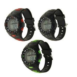 Часы наручные W-F77, с будильником, календарём и секундомером,  черные, микс l=27 см 1716952