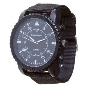 """Часы наручные мужские """"Солдат"""" чёрные, d=4.5 см, ремешок текстиль 22 мм 3620994"""