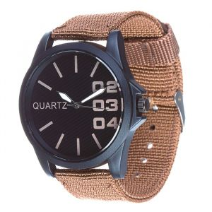 Часы наручные, d=4.5см черные, коричневый ремешок 20мм 3620992