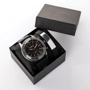 """Подарочный набор 2 в 1 """"Маратон"""": наручные часы и браслет   4508132"""