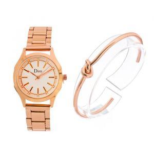 """Подарочный набор 2 в 1 """"Узелок"""": наручные часы и браслет, золото   4407084"""