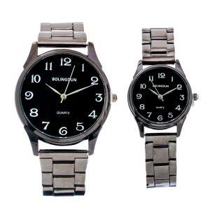 """Часы наручные, """"BOLINGDUN"""", парный набор для нее и для него, темный хром   4407069"""