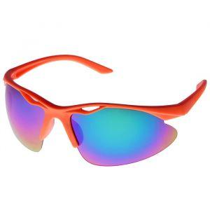 Очки спортивные, оправа с прорезью, линзы зеркальные, пластик, оранжевые, 14х4х5 см 2757030