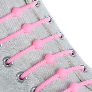 Набор шнурков для обуви «Шар», 6 шт, силиконовые, круглые, d = 15 мм, 6,5 см, цвет розовый