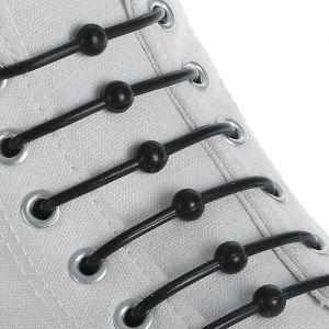 Набор шнурков для обуви «Шар», 6 шт, силиконовые, круглые, d = 15 мм, 6,5 см, цвет чёрный