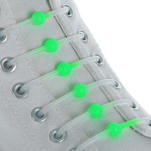 Набор шнурков для обуви «Шар», 6 шт, силиконовые, круглые, светящиеся в темноте, d = 15 мм, 6,5 см, цвет белый/зелёный неоновый