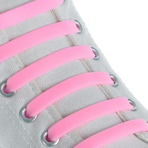 Набор шнурков для обуви, 6 шт, силиконовые, плоские, 13 мм, 9 см, цвет розовый