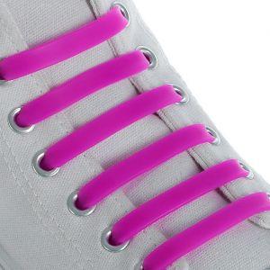 Набор шнурков для обуви, 6 шт, силиконовые, плоские, 13 мм, 9 см, цвет МИКС