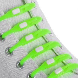 Набор шнурков для обуви, 6 шт, силиконовые, плоские, на застёжке, 6 мм, 12 см, цвет салатовый