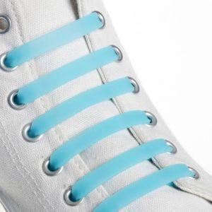 Набор шнурков для обуви, 6 шт, силиконовые, плоские, светящиеся в темноте, 13 мм, 9 см, цвет голубой