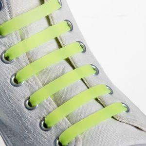 Набор шнурков для обуви, 6 шт, силиконовые, плоские, 13 мм, 9 см, цвет жёлтый