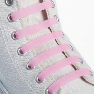 Набор шнурков для обуви, 6 шт, силиконовые, плоские, светящиеся в темноте, 13 мм, 9 см, цвет нежно-розовый