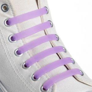 Набор шнурков для обуви, 6 шт, силиконовые, плоские, 13 мм, 9 см, цвет сиреневый