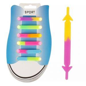 Резиновые шнурки, набор 6 шт., светоотражающие, цвета МИКС