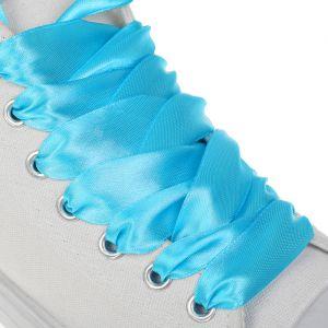 Шнурки для обуви, пара, атласные, плоские, 20 мм, 110 см, цвет голубой