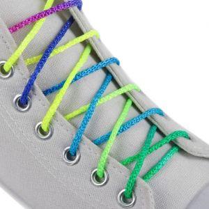 Шнурки для обуви, пара, круглые, d = 4 мм, 100 см, цвет «радужный»