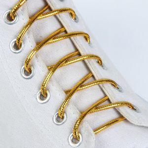 Шнурки для обуви, пара, круглые, металлизированные, d = 4 мм, 120 см, цвет золотой