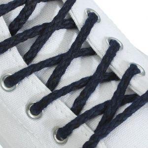 Шнурки для обуви, пара, круглые, d = 5 мм, 180 см, цвет синий