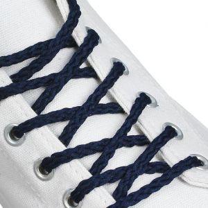 Шнурки для обуви, пара, круглые, d = 5 мм, 180 см, цвет тёмно-синий