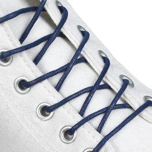 Шнурки для обуви, пара, круглые, вощёные, d = 3 мм, 75 см, цвет синий
