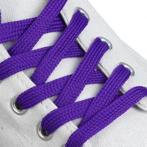 Шнурки для обуви, пара, плоские, 7 мм, 120 см, цвет фиолетовый