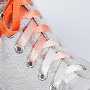 Шнурки для обуви «Амбре», пара, плоские, 8 мм, 100 см, цвет оранжевый/белый