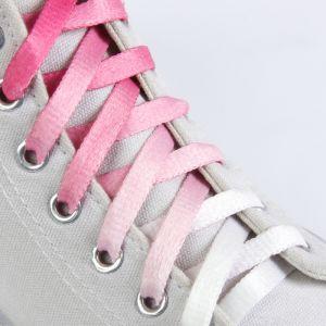 Шнурки для обуви «Амбре», пара, плоские, 8 мм, 100 см, цвет розовый/белый