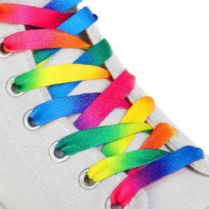 Шнурки для обуви, пара, плоские, 8 мм, 90 см, цвет «радужный»
